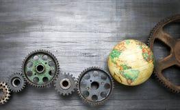 Fundo global do mundo do negócio das rodas denteadas Fotografia de Stock Royalty Free
