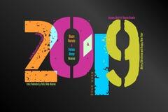 Fundo gráfico - 2019 ilustração stock