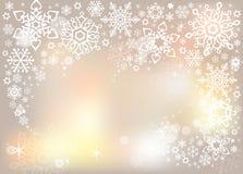 Fundo gráfico do vetor dos flocos de neve mágicos delicados claros Imagens de Stock Royalty Free