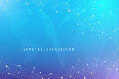 Fundo gráfico virtual com globos do mundo Conexão de rede global Visualização dos dados de Digitas Conexão dois ilustração stock
