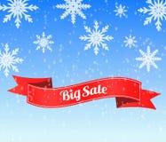 Fundo grande da venda do inverno com a bandeira vermelha da fita ilustração stock