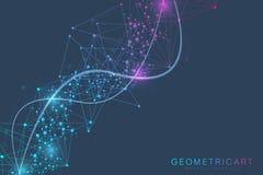 Fundo grande do visualização dos dados Fundo abstrato virtual futurista moderno Teste padrão da rede da ciência, conectando ilustração royalty free