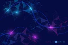 Fundo grande do visualiza??o dos dados Fundo abstrato virtual futurista moderno Teste padr?o da rede da ci?ncia, conectando ilustração royalty free