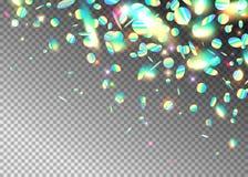 Fundo holográfico com brilho, néon do efeito do arco-íris, partículas claras da folha Fração iridescente da forma redonda em ilustração stock