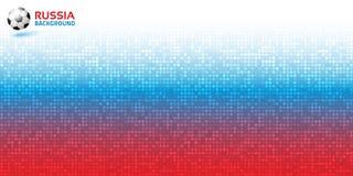 Fundo horizontal azul vermelho digital do pixel do inclinação Rússia 2018 cores da bandeira Ícone da bola de futebol Ilustração d ilustração royalty free