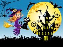 Fundo horizontal da noite nova do Dia das Bruxas da vassoura do voo da bruxa ilustração do vetor