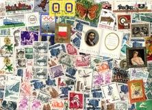 Fundo horizontal de selos postais poloneses Fotografia de Stock