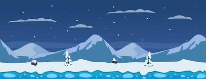 Fundo horizontal do inverno com montanhas, neve, gelo e pinheiros Fotos de Stock Royalty Free