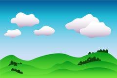 Fundo idílico colorido da paisagem na ilustração azul e verde, calma com o lugar para o texto Imagem de Stock