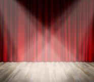 Fundo iluminação na fase cortina vermelha e fundo de madeira do interior do assoalho Fotografia de Stock Royalty Free