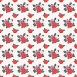 Fundo ilustrado com os ramalhetes das rosas em um backgro claro Imagem de Stock Royalty Free