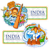 Fundo indiano que mostra suas cultura e diversidade incríveis para 15o August Independence Day da Índia Imagem de Stock