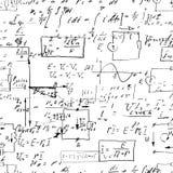 Fundo infinito sem emenda do teste padrão com fórmulas matemáticas escritas à mão Foto de Stock Royalty Free