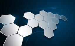 Fundo inovativo do conceito do fi do sci abstrato da tecnologia do teste padrão da estrutura do hexágono ilustração royalty free
