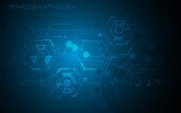 Fundo inovativo do conceito do projeto do teste padrão da tecnologia do hexágono do vetor olá! ilustração stock