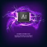 Fundo inteligente artificial do vetor do sumário da placa de circuito da microplaqueta do AI ilustração do vetor