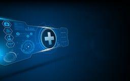 Fundo interativo do conceito de projeto da tela da máquina virtual do ui médico abstrato do hud dos cuidados médicos Fotografia de Stock