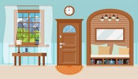Fundo interior acolhedor do salão de entrada da casa com mobília ilustração stock