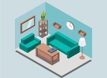 Fundo interior com bibliotecas, cremalheira da sala de visitas acolhedor da casa, lâmpada, planta, poltrona, sofá, pulso de dispa ilustração stock