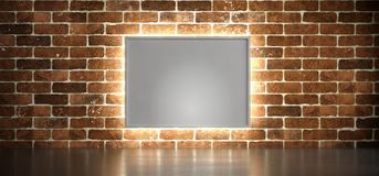 Fundo interior com cartaz e luz da caixa Imagens de Stock