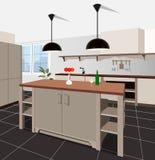 Fundo interior da cozinha com mobília Projeto da cozinha moderna mobília do símbolo Ilustração da cozinha Fotografia de Stock