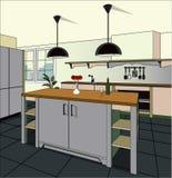 Fundo interior da cozinha com mobília Projeto da cozinha moderna mobília do símbolo Ilustração da cozinha Foto de Stock