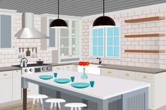 Fundo interior da cozinha com mobília Projeto da cozinha moderna mobília do símbolo Ilustração da cozinha Fotografia de Stock Royalty Free