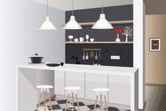 Fundo interior da cozinha com mobília Projeto da cozinha moderna mobília do símbolo Ilustração da cozinha Fotos de Stock