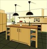 Fundo interior da cozinha de Borgonha com mobília Projeto da cozinha moderna mobília do símbolo Ilustração da cozinha Imagens de Stock Royalty Free