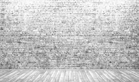 Fundo interior da sala com parede de tijolo e o assoalho de madeira 3d Imagem de Stock