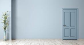 Fundo interior da sala com parede, a porta e o vaso azuis com rendição da planta 3d fotos de stock