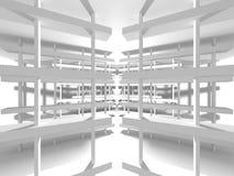 Fundo interior moderno da construção branca da arquitetura Imagens de Stock Royalty Free