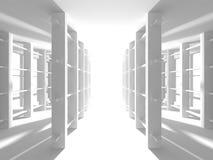 Fundo interior moderno da construção branca da arquitetura Foto de Stock