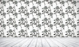 Fundo interior vazio com floral ilustração stock