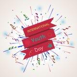 Fundo internacional do dia da juventude com fogo de artifício Fotografia de Stock Royalty Free