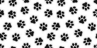 Fundo isolado Cat Paw Bear do papel de parede do vetor de Paw Seamless Pattern do cão ilustração stock