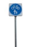Fundo isolado do branco da bicicleta e do homem do símbolo Foto de Stock Royalty Free