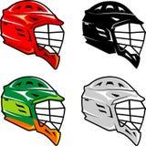 Fundo isolado grupo do capacete da lacrosse ilustração royalty free