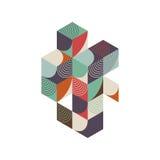 Fundo isométrico da composição do vintage retro geométrico abstrato Imagens de Stock