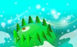 Fundo isometry alegre do vintage da árvore de Natal com prado verde e ornamento dos flocos de neve claros Por anos novos no conte ilustração stock