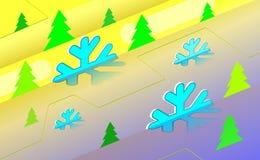 Fundo isometry alegre do vintage do Natal com árvore verde e ornamento dos flocos de neve claros Por anos novos no contexto co az ilustração royalty free