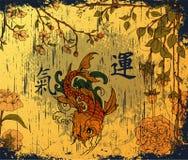 Fundo japonês com peixes do koi Imagens de Stock Royalty Free