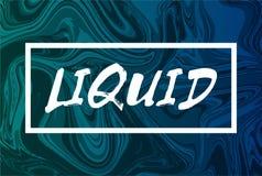 Fundo líquido abstrato com texto O projeto na moda liquefaz a tampa Cor verde e azul Imagens de Stock