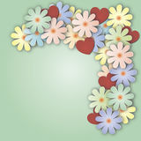 Fundo lilás com o ramalhete das flores e dos corações Imagens de Stock