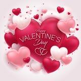 Fundo lindo do Valentim com tipografia agradável ilustração stock