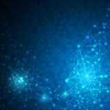 Fundo linear do conceito da inovação da tecnologia do projeto do teste padrão da textura da conexão dos trabalhos em rede do pixe Imagem de Stock