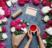 Fundo liso da flor do verão da configuração Um ramalhete das flores das peônias, as mãos das mulheres e mantêm um copo do chá do  Imagens de Stock