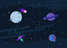 Fundo liso do projeto de espaço do vetor O molde bonito com planetas, UFO, cometa, lua e protagoniza no espaço Foto de Stock