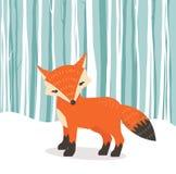 Fundo liso do withWinter do estilo do Fox dos desenhos animados bonitos da raposa Imagem de Stock Royalty Free