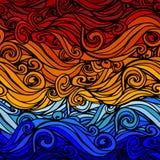 Fundo listrado abstrato Azul-alaranjado Fotografia de Stock